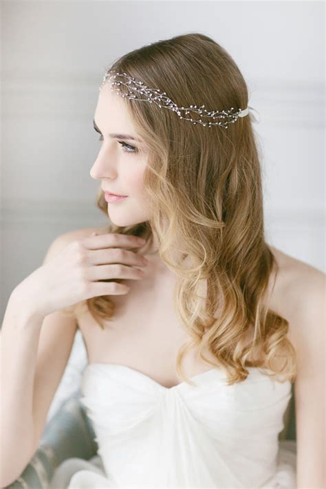 diy bridal hair band delicate pearl headband wedding hair vine freshwater pearl headpiece wedding hair wrap