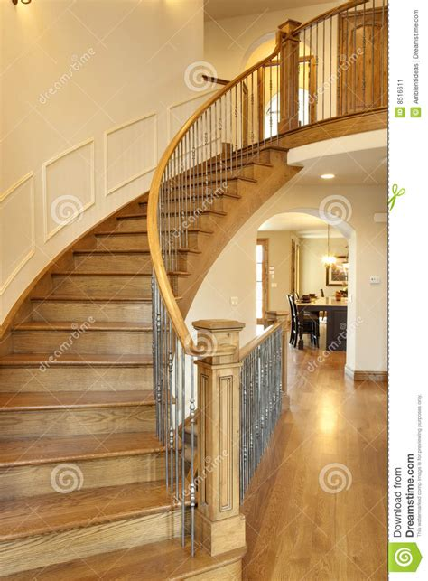 curved oak staircase stock image image  story custom