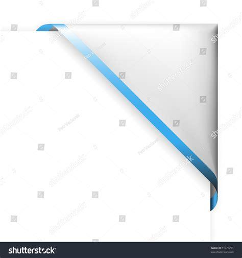 white corner ribbon blue thin border stock vector