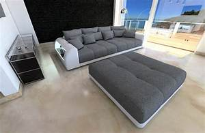 Big Sofa Weiß : xxl fabric sofa miami with led lights grey hugo 5 ~ Lateststills.com Haus und Dekorationen