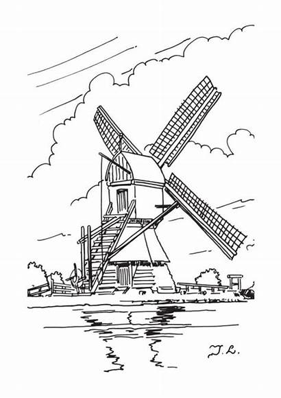 Coloring Windmills Dutch Pages Windmill Drawing Adult
