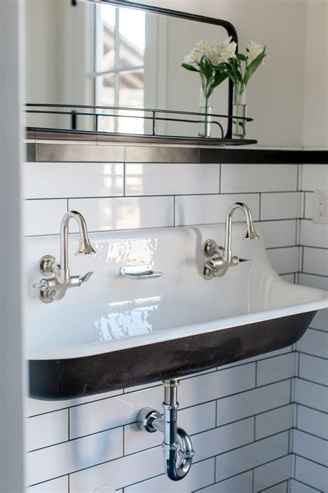 custom bathroom  cast iron trough sink