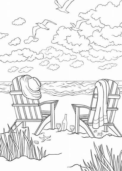 Coloring Beach Pages Chairs Scenes Activities