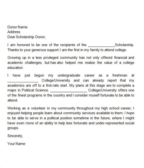 thank you letter for scholarship thank you note for scholarship template business 11626