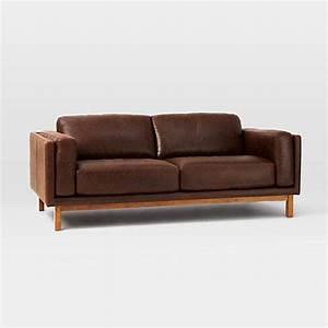 West elm dekalb aniline leather sofa molasses leather for West elm sectional sofa leather