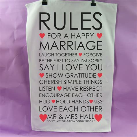 There are 3 children between the both of. Rules happy marriage tea towel 2nd anniversary gift cotton present wedding tea towel Vintage Style