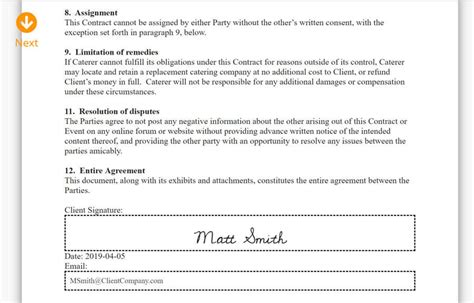 signature catering contracts caterzen