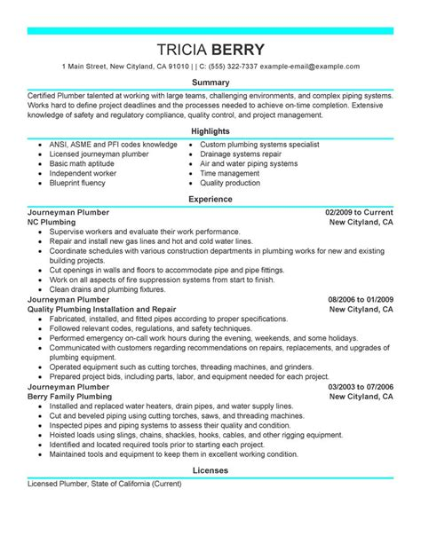 Plumbing Resume Objective by Best Journeymen Plumbers Resume Exle Livecareer