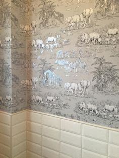watering hole taupe animal safari metallic wallpaper
