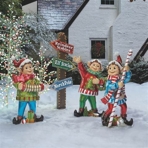 set of three pixie elves frontgate outdoor christmas decorations outdoor decor outdoor displays frontgate