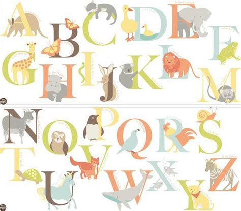 funwalls alphabet zoo multicolour  adhesive wall
