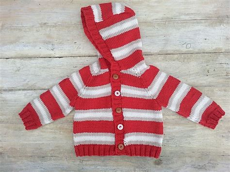 Kids Striped Raglan Sweater, Cardigan, Optional Hood , 6 Sizes, Knitting Pattern