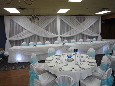 blue and white wedding decor backdrop table and cake table with spot lights mirror