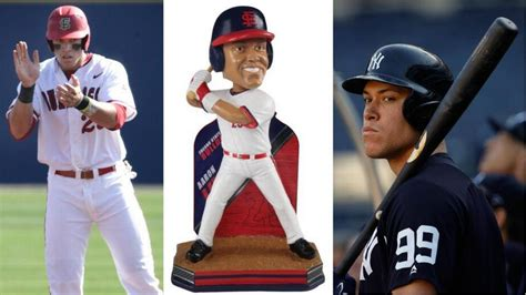 aaron judge uniform yankee aaron judge s bobblehead wears fresno state uniform