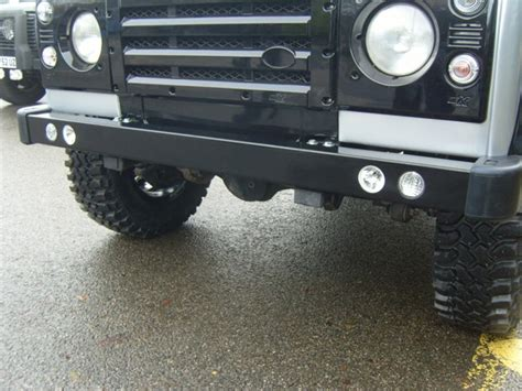 land rover defender front bumper with led drl and spot lights simmonites