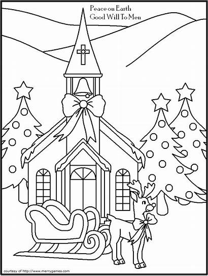 Coloring Pages Christmas Printable Religious Christian Cards