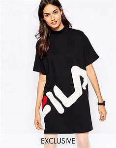 fila high neck t shirt dress with large front logo in With robe t shirt longue
