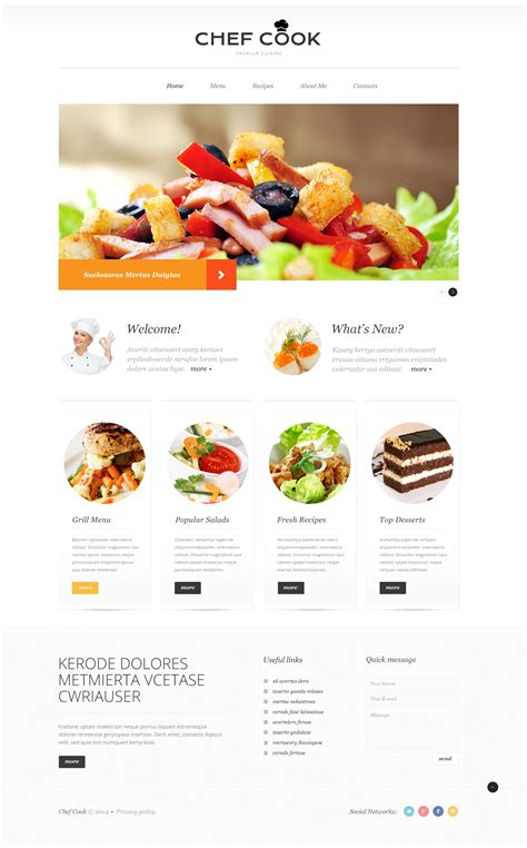 site cuisine cooking responsive website template 50904