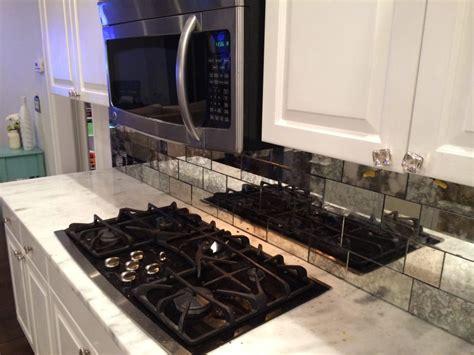 mirror tiles kitchen antique mirror backsplash installed 4156