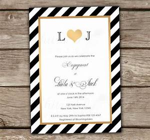 Black white engagement invitations printed gold for Black and gold wedding shower invitations