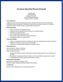 resume for insurance the best insurance specialist resume sle