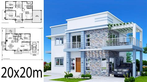 Home design plan 20x20m with 4 Bedrooms Home Planssearch