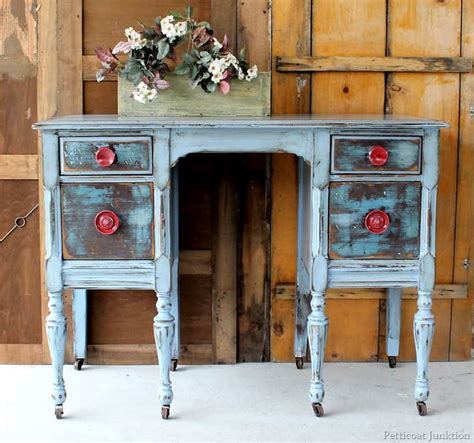 distressed furniture  red knobs