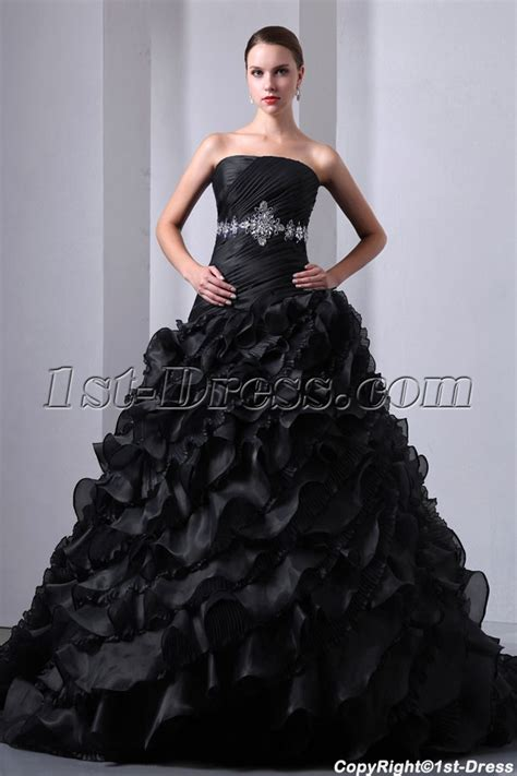 New Pretty Ruffled Layers Gothic Black Wedding Dress:1st dress.com