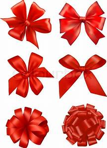 Big set of red gift bows with ribbons. Vector. | Stock ...