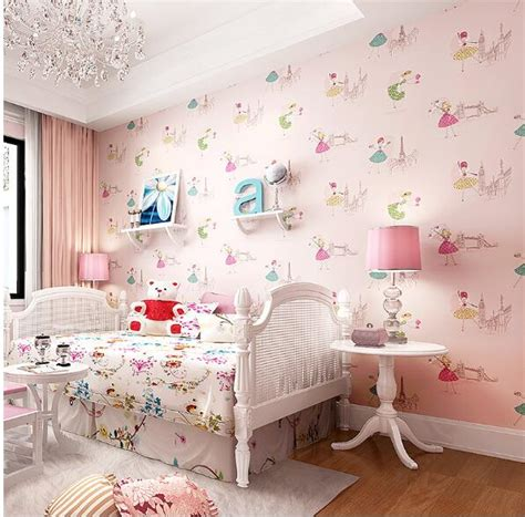 bedroom with pink walls child wallpaper ballet non woven wallpapers 14476