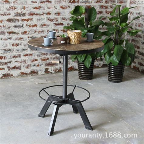 small round pub table excellent natural wood home vintage american iron bar