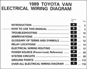 1989 Toyota Van Wiring Diagram Manual Original