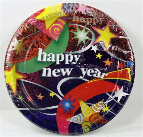 """8ct 634"""" Happy New Year's Eve Celebration Paper Plates Year Festive Party Ebay"""