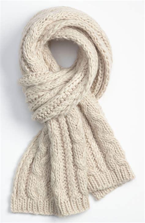 knit scarf topman knit scarf in beige for men cream lyst