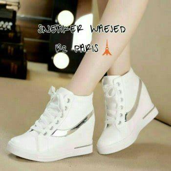 jual sendal sepatu kets putih sneakers wedges