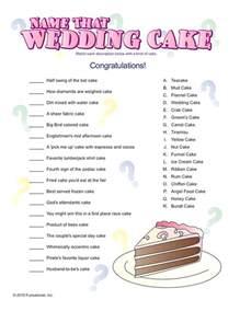 Name That Cake Bridal Shower Game
