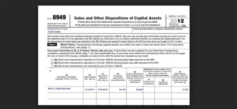 tax form 8949 instructions for reporting capital gains and
