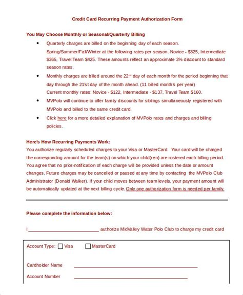 credit card authorization form template credit card payment authorization form free templates