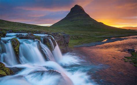 Wallpaper Hd Kirkjufell Iceland Waterfall River Mountain