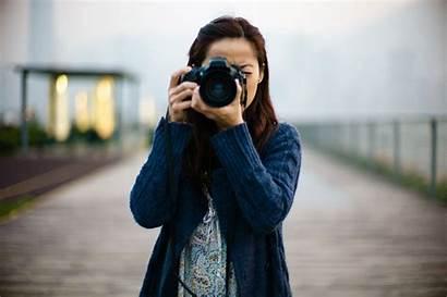 Photographer Camera Holding Lady Shooting Pretty Slr