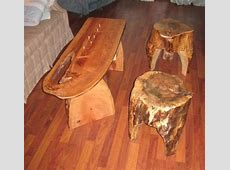Live Edge Cribbage Board Table & Log stools by TexPenn