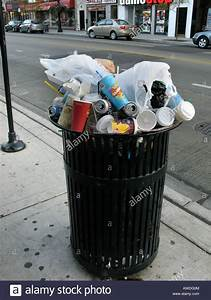 Full, Trash, Can, In, Chicago, Il, Usa, Stock, Photo