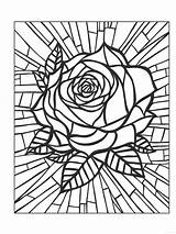 Rose Coloring Pages Adult Adults Roses Sheets Colouring Mandala Volwassenen Kleurplaten Voor Window Kleuren Books Printable Pattern Birds Flowers Stained sketch template