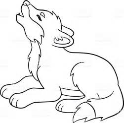 Coloring Pages Little Cute Baby Wolf Howls stock vector ...