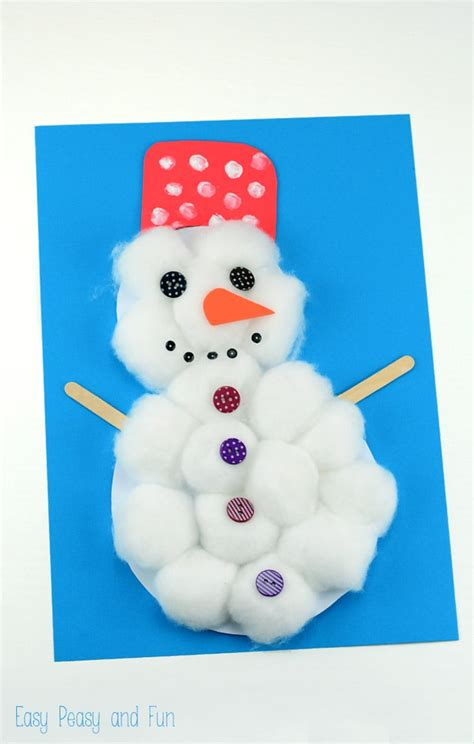 christmas ball art and craft cotton snowman craft easy peasy and