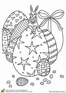 Coloriage De Paque : coloriage lapin et oeufs de paques sur ~ Melissatoandfro.com Idées de Décoration