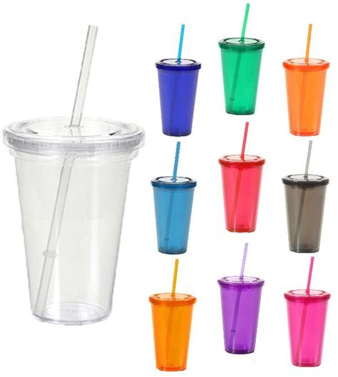 plastic tumblers promotional wall tumbler cup with lid and straw