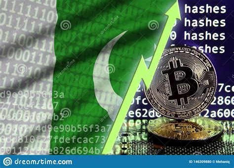 Pakistan's first crypto mining farm launched. Pakistan Flag And Rising Green Arrow On Bitcoin Mining Screen And Two Physical Golden Bitcoins ...