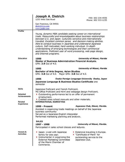 Printable Resume Sles by Free Resume Templates Template Downloads Here Word And