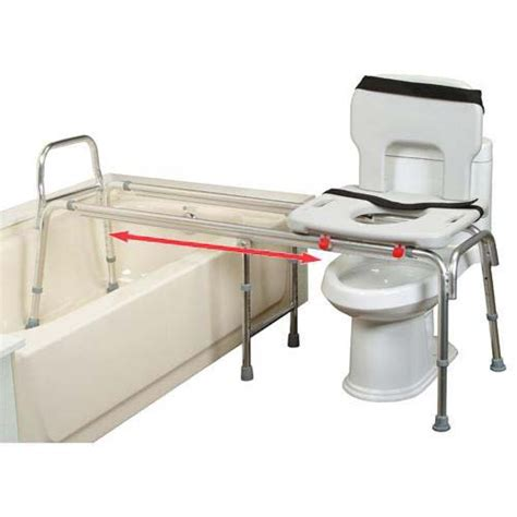 toilet to tub sliding transfer bench toilet commode and